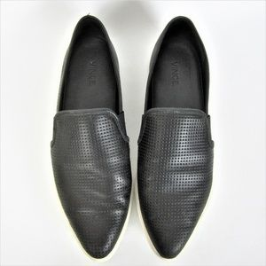 Vince Pointy Toe Perforated Black Loafers Slip On